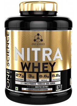 One Science Nutrition Nitra Whey 5lbs Choco Brownie - 27g Protein, 3g Creatine, 5.2g Glutamine, 6.6g BCAA
