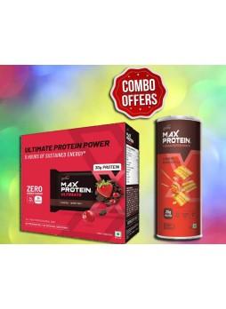 RiteBite Max Protein Ultimate Protein Bars 12BARS (600 g, Choco Berry) + RiteBite Max Protein Chips - Chinese Manchurian 150g Protein Chips
