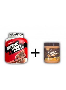 Big Muscle 100% Nitric Whey Protein 4.4 lbs + Alpino Natural Honey Peanut Butter Crunch 1kg