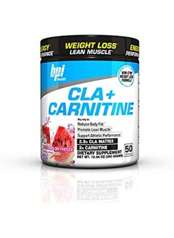 BPI Sports Cla + Carnitine Non-Stimulant Weight Loss Supplement Powder Rainbow Ice 12.34 Ounce