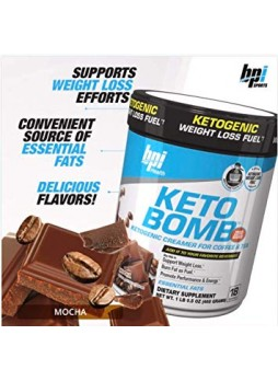 BPI Sports Keto Bomb Ketogenic Support Weight Loss (Mocha, 18 Servings)