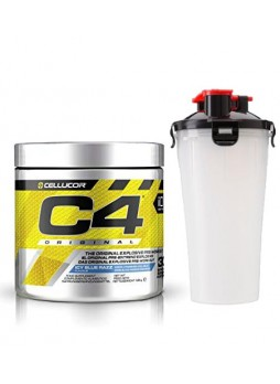 Cellucor C4 Original Explosive Pre-Workout Supplement ,30SERVING ICY BLUE RAZZ with shakker