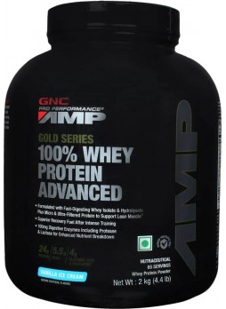 GNC Amp Gold Series 100% Whey Protein  (2 kg, Vanilla Ice Cream)